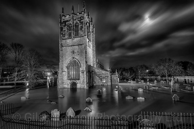 St Mary's Church, Tadcaster, night shot showing flooding Boxing Day 2015, Tadcaster, North Yorkshire, United Kingdom