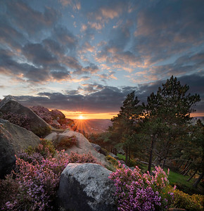 Sunset over Ilkley Moor, Ilkley, West Yorkshire, United Kingdom. August 31st 2020.