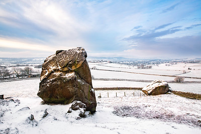 Snowy view from Almscliffe Crag, near Otley, West Yorkshire, United Kingdom. February 1st 2019.