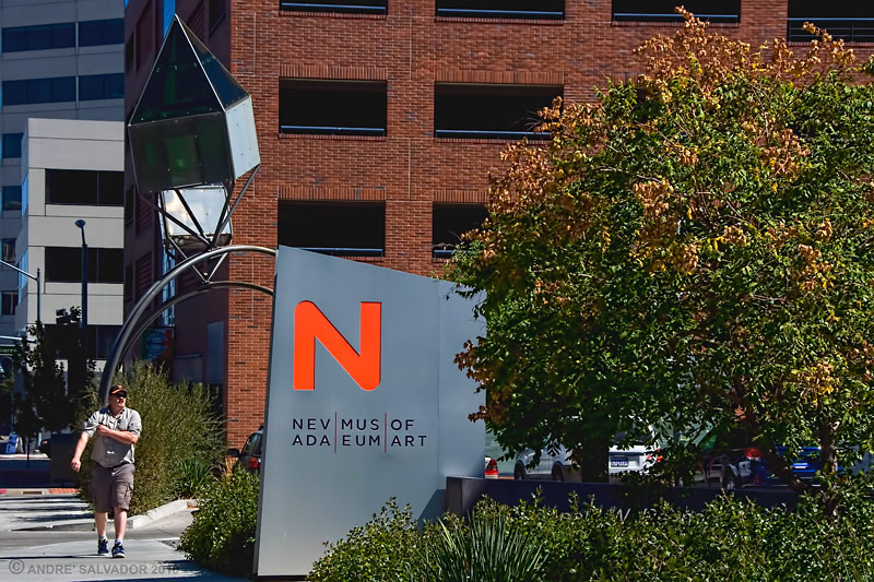The sidewalk sign at Liberty Street, Reno, Nevada.