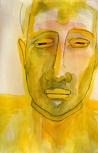 YELLOWMAN ink, watercolor 30 x 40 cm 2006 Current status: Myynti taiteilijalta / For sale by the artist