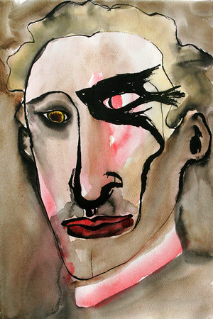 Bird Eyed Man, 30 x 40 cm, inc, watercolor, 2006