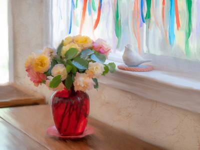 1-OIL-Ribbons n Roses Painted
