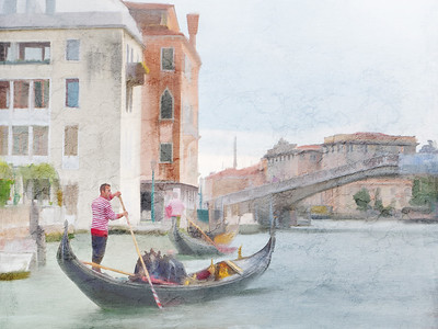 Gondola Bridge Venice Painted