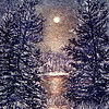 """MOONLIGHT""<br /> 2 1/8 "" x  3 1/4""<br /> etching<br /> $30.00<br /> Edition of 60"