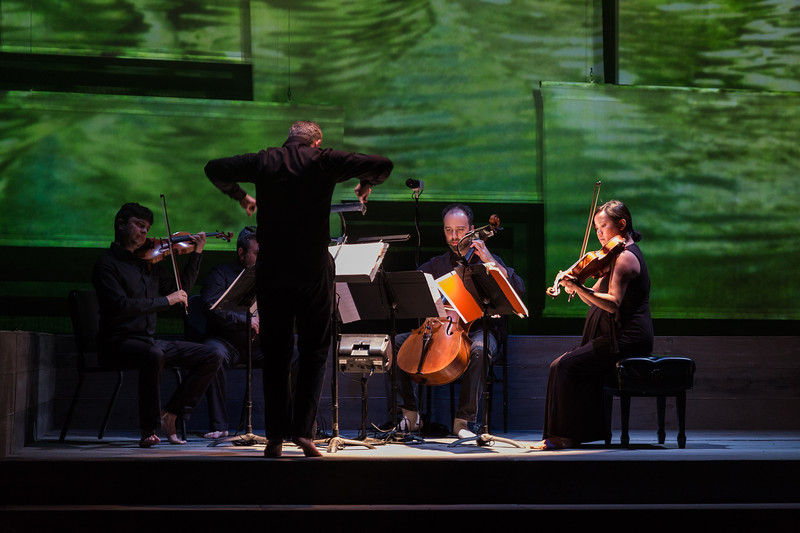 Conductor Bruce Stasyna with The Hausmann Quartet in San Diego Opera's AS ONE. November, 2017.  Photo by Karli Cadel.