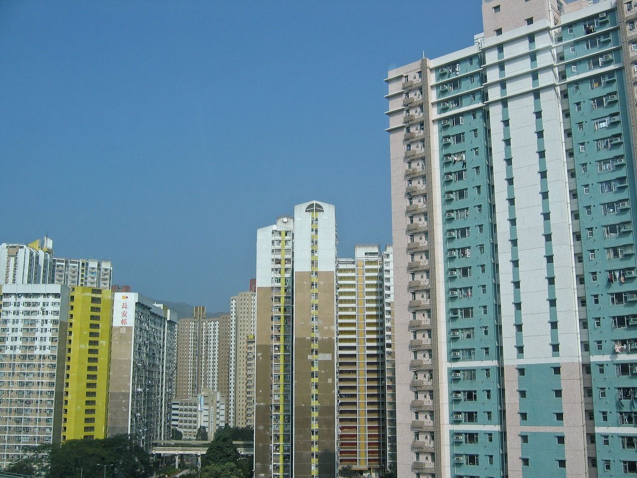 You pass hundreds of tall apartment buildings on the journey from the airport to central Hong Kong.