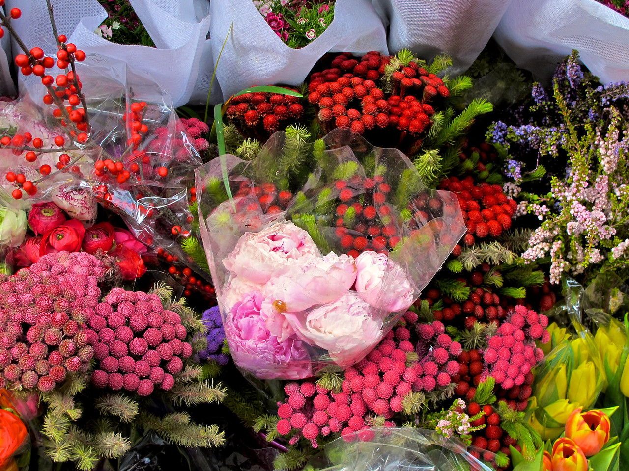 Fresh flowers are everywhere in local markets.