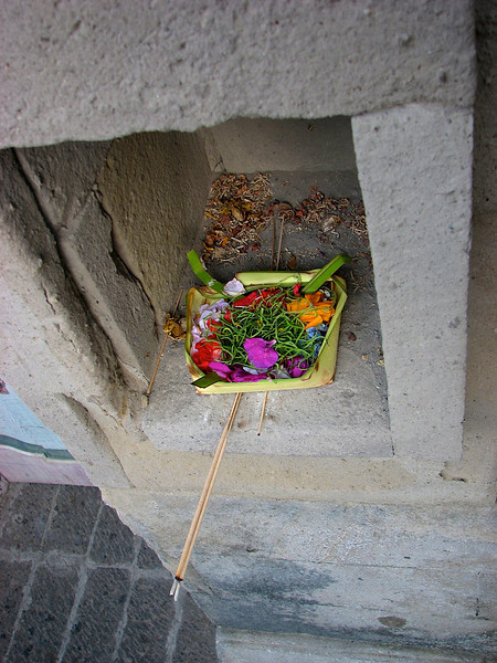 Each villa also has its small offering place.
