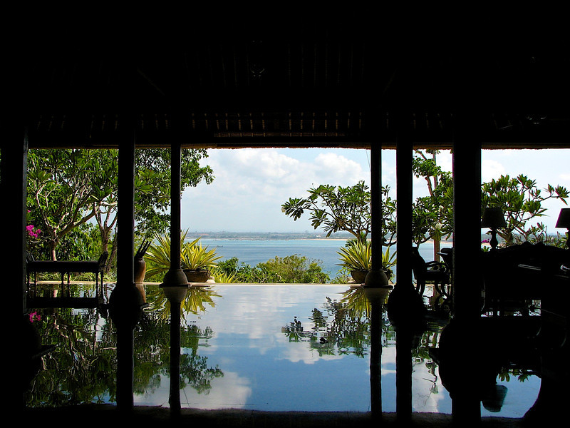 From the reception area, you can look out onto the Bali Sea.