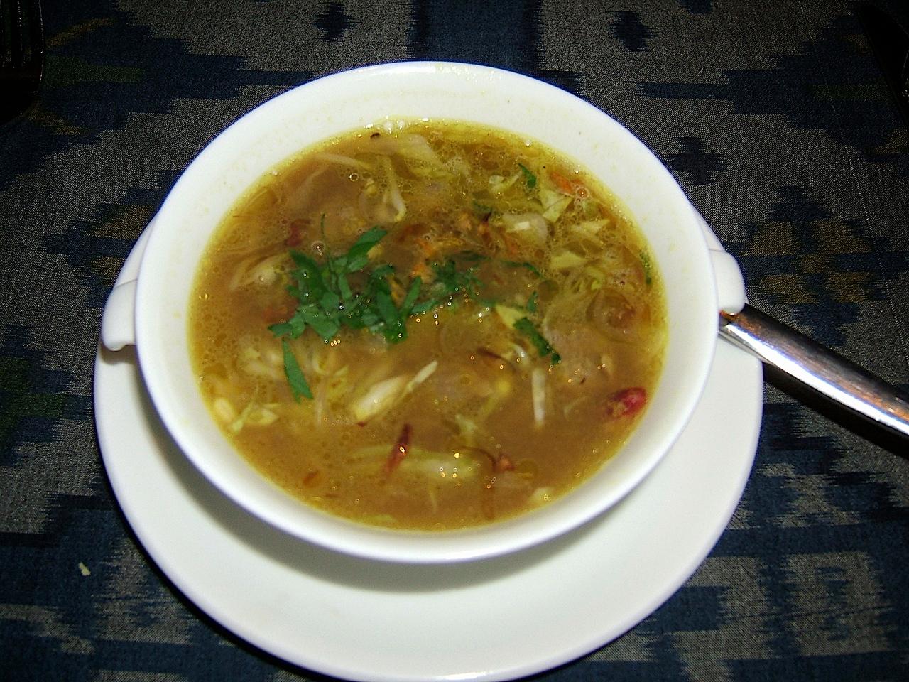 Lemongrass soup with suckling pig.
