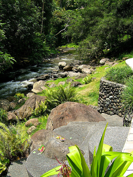 A small stream runs next to the pool area of the hotel.