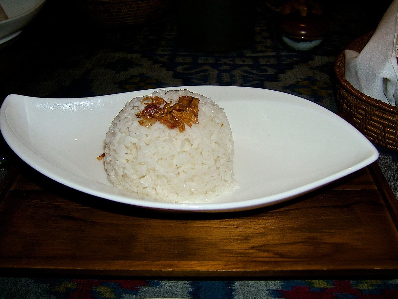 Pandanus steamed rice.