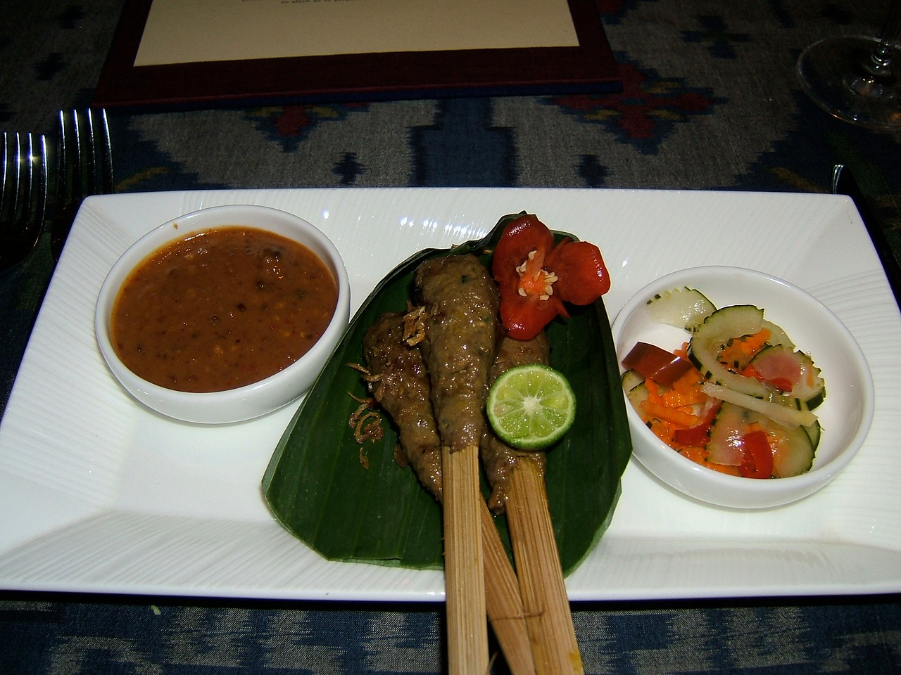 Balinese pork on skewers.