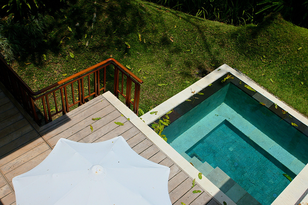 Looking over the lily pond, you can see the villas private pool and deck below.