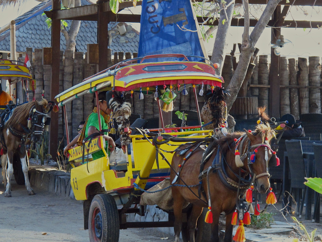 "The traditional ""Cidomo"" or horse cart used for transportation on the Gili's."
