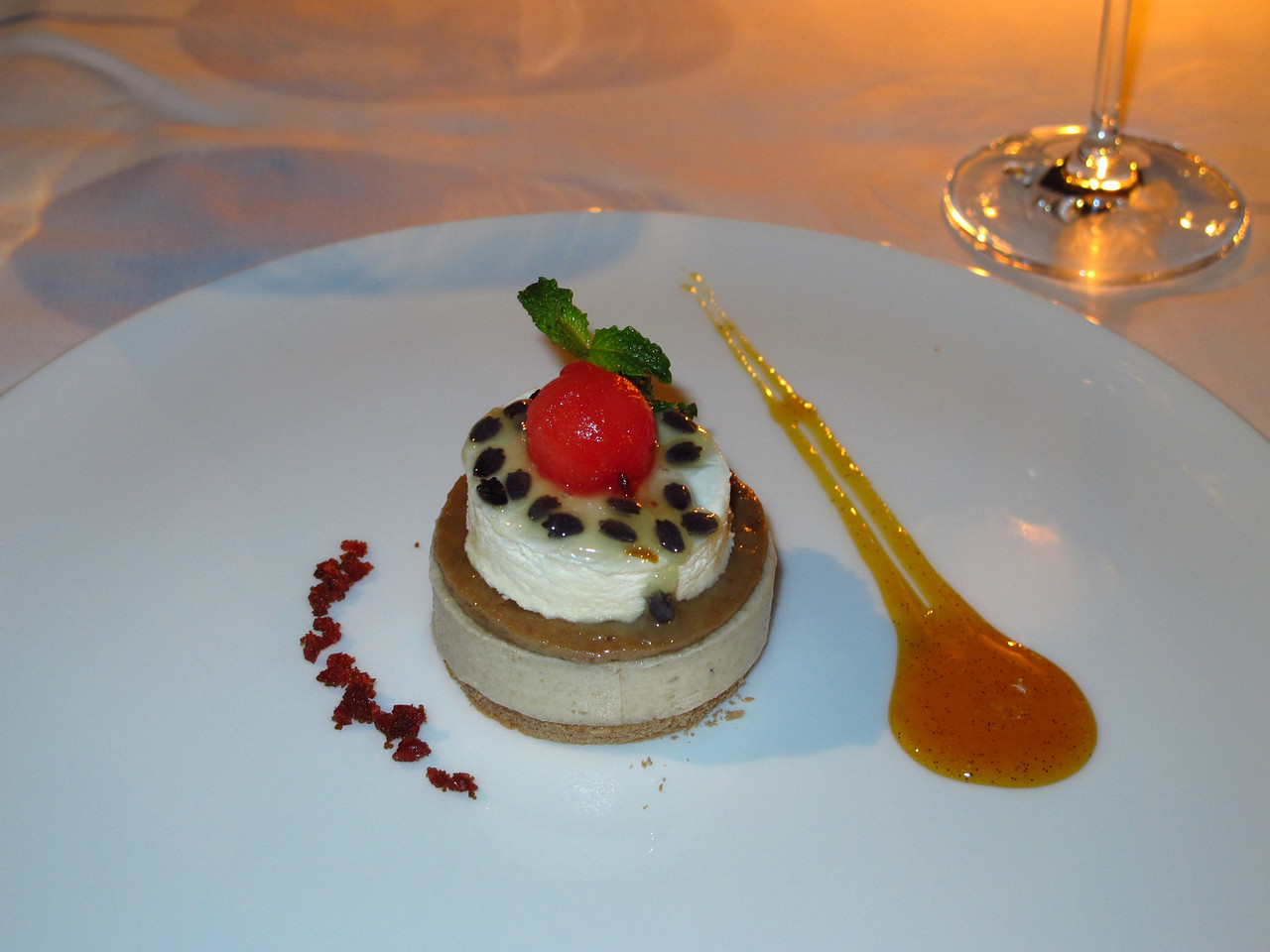 ..and for dessert it's a banana mousse with vanilla ice cream and passion fruit sauce.