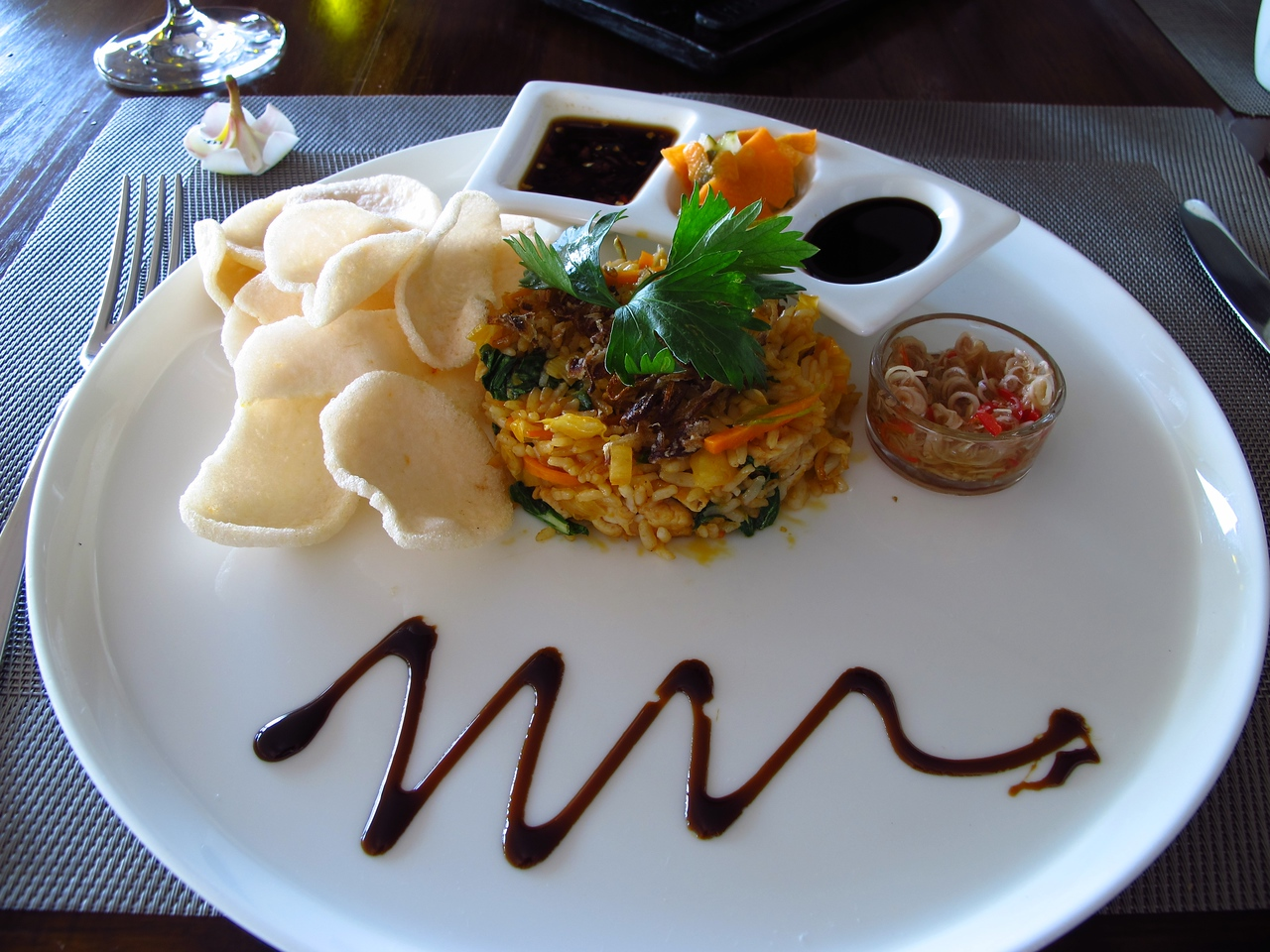 While you can have just about any western style breakfast item….when in Indonesia, do as Indonesian's do…This is Nasi Goreng.