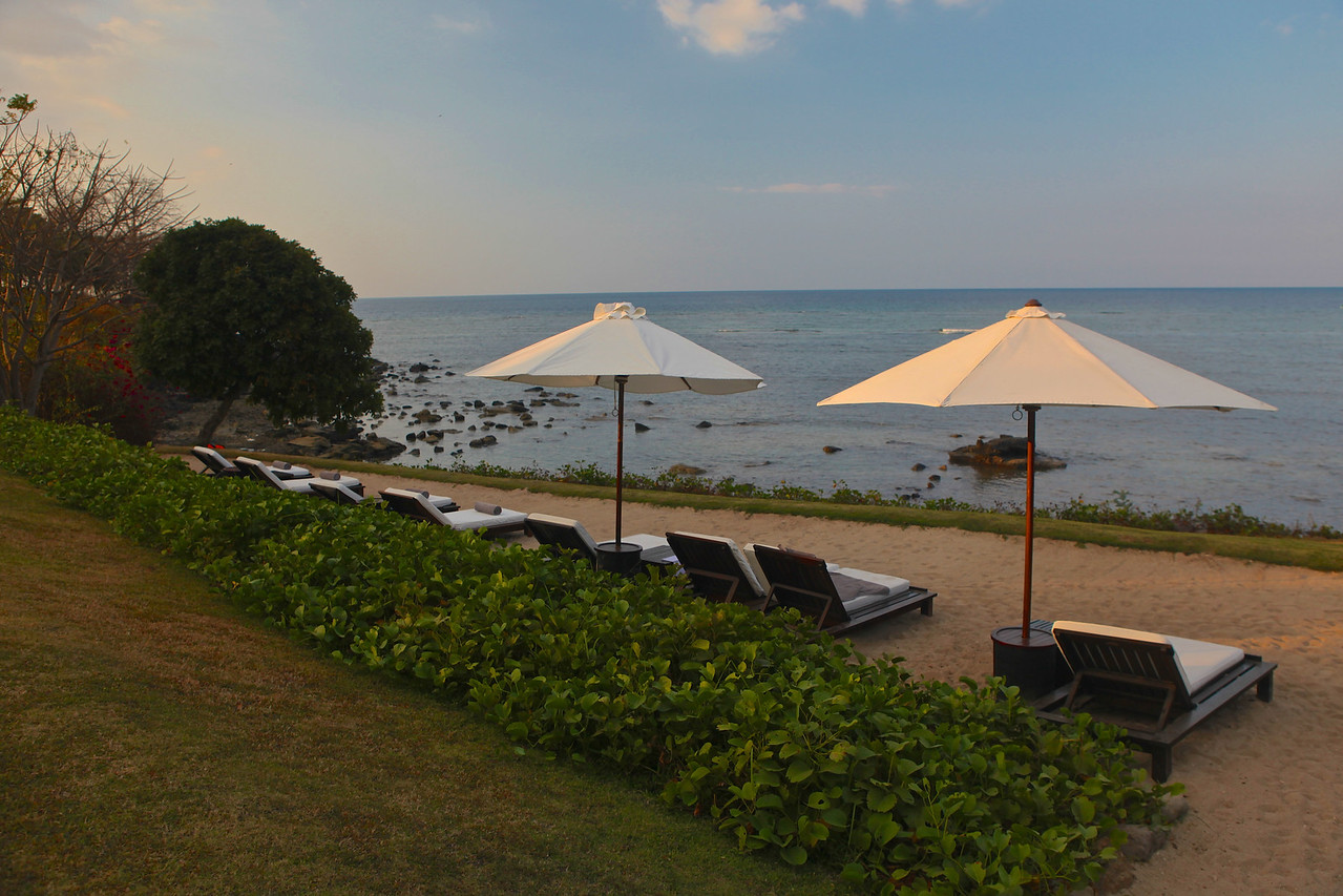 There are also plenty of lounge chairs just above the beach, so you can get even closer to the water.