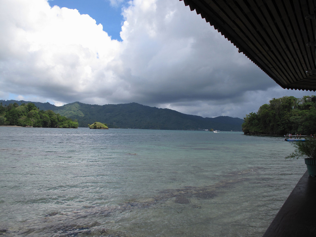 A view of the Lembeh Strait from the hotel dining area.
