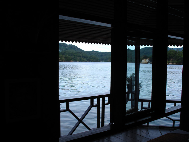 The restaurant and bar area have a great view of the strait.