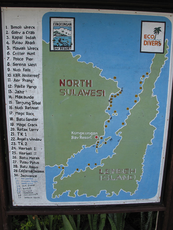 Here's a map of all the dive sites which are less than 10 minutes by boat from the resort.