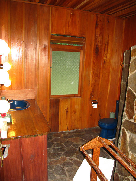 The bathroom is made almost completely out of local stone...