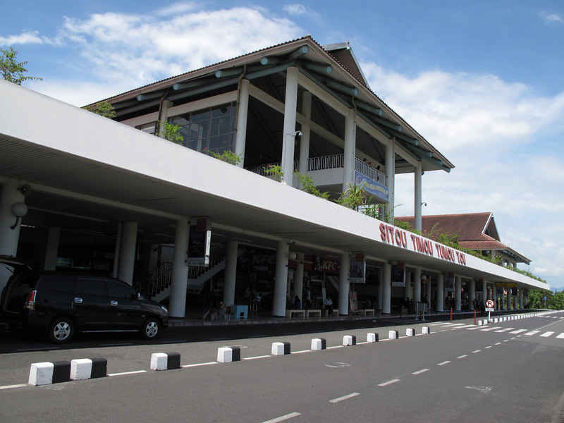Sam Ratulangi airport in Manado, North Sulawesi, Indonesia.  The airport is named after the Minahasan educator and independence hero Sam Ratulangi.