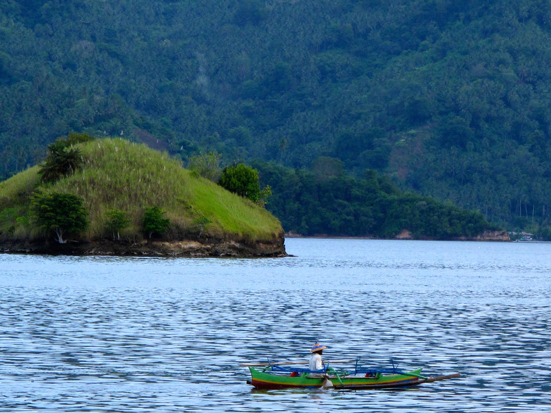 The strait is busy with boat traffic most of the day.  Here's a local on his way oceanside to fish.