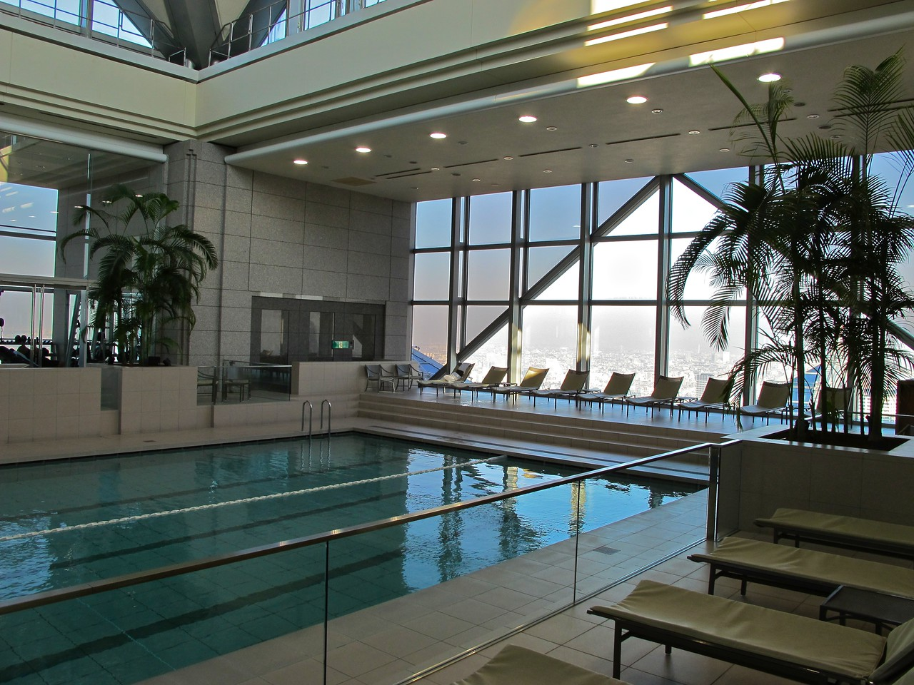 At the top of the second tower is the pool and workout facility.