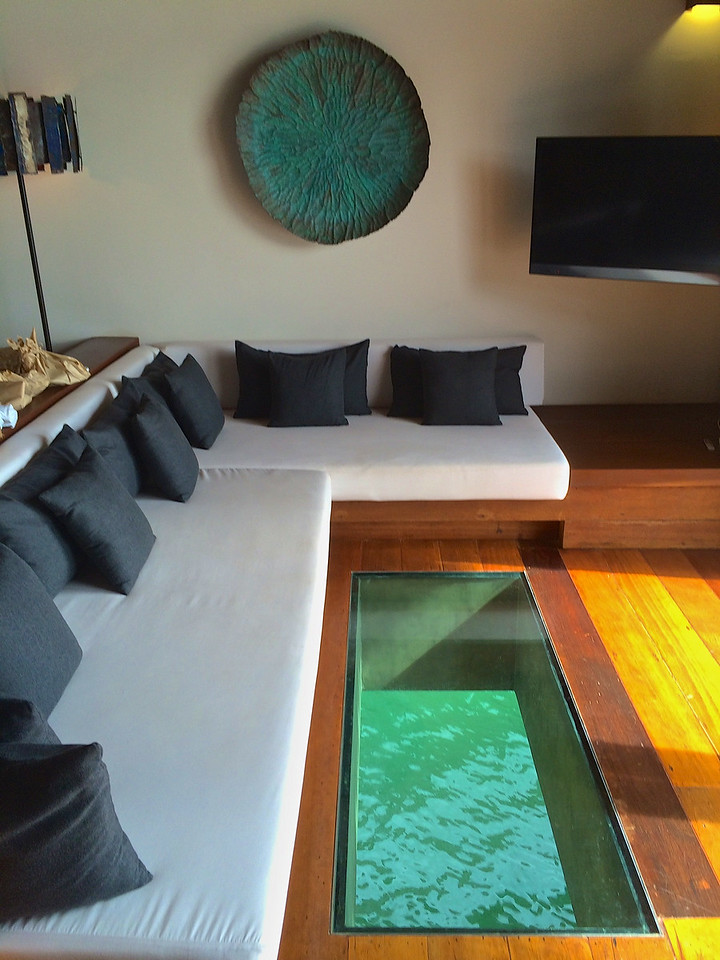 There's a large glass area on the villa floor in front of the sofa where you can look down at the sea life underneath.