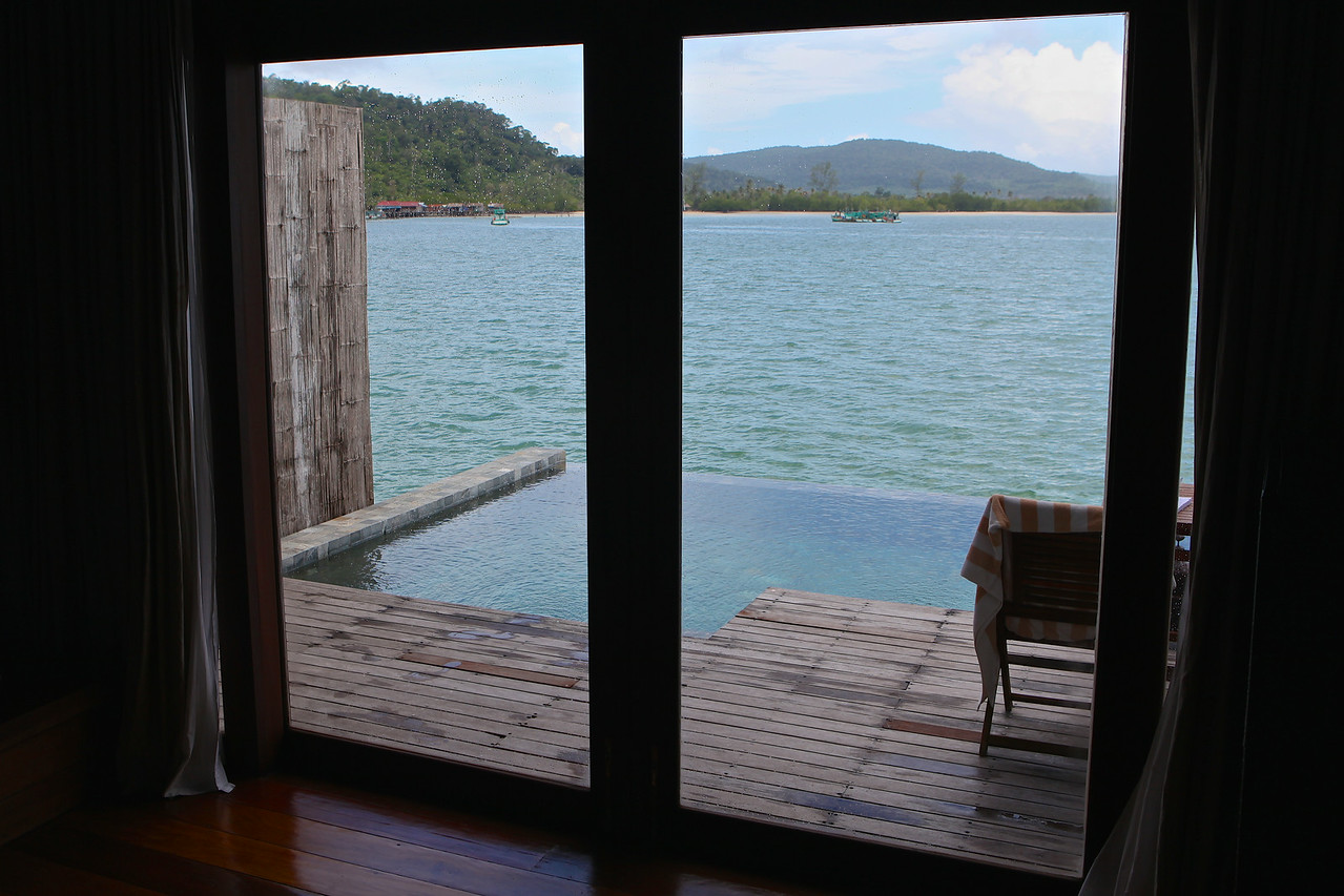 Being an overwater villa, you have a large expansive view of the water and Koh Rong island.