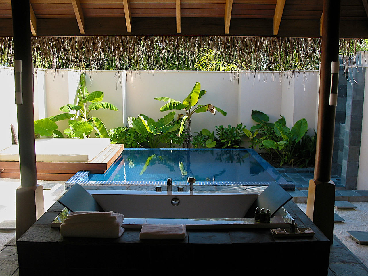 Out back in your bungalow, you can have a small pool, outdoor shower and outdoor soaking tub.