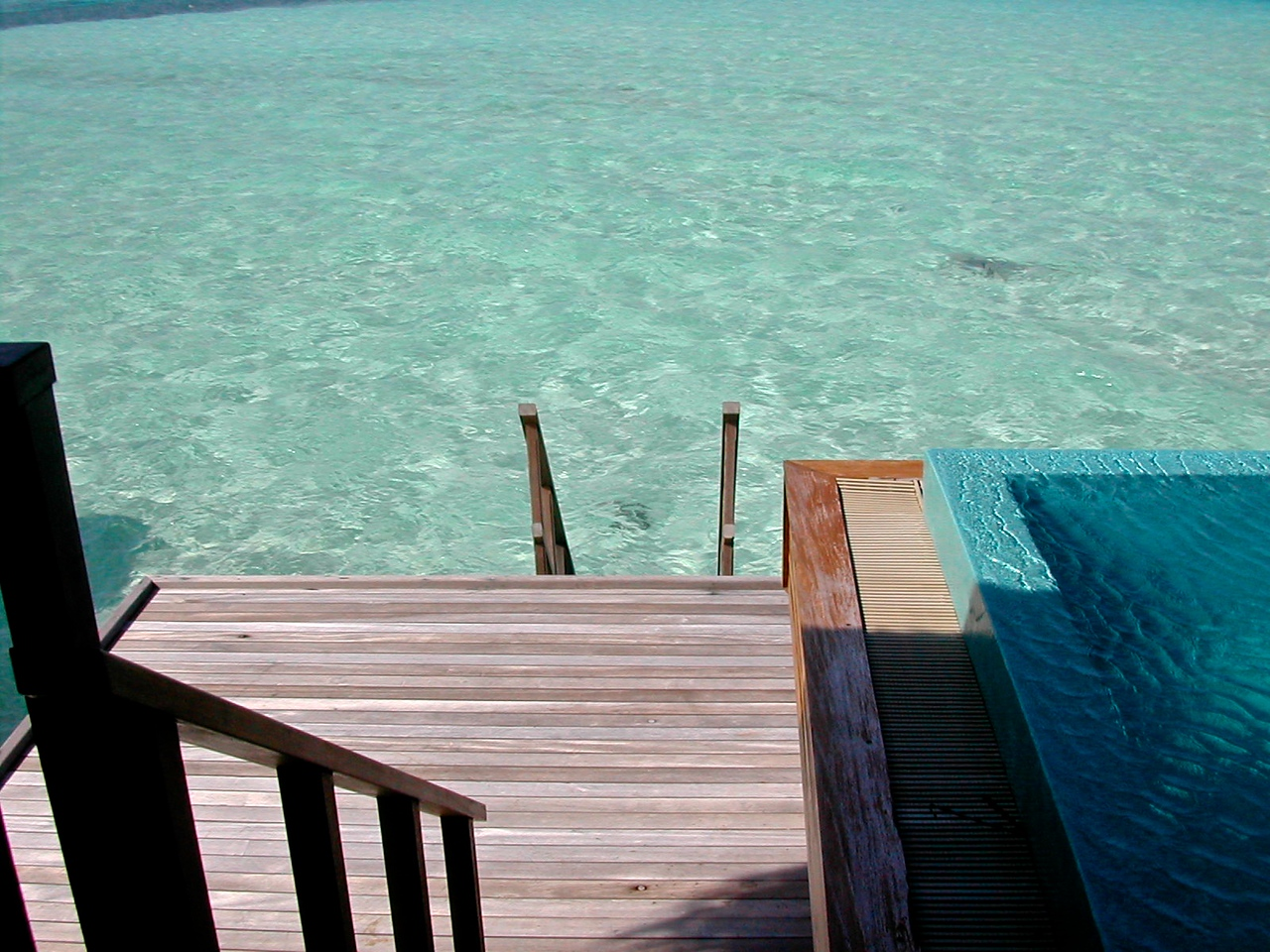 The deck allows you to take stairs directly into the lagoon and ocean.