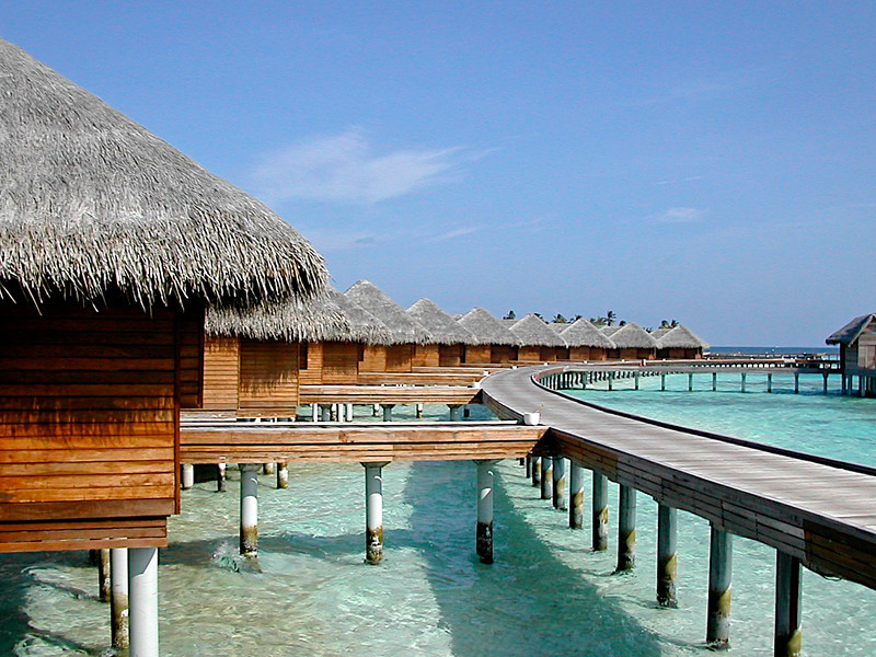 Other bungalows are located over water.