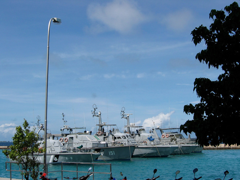 Maldivian Coast Guard ships in the harbor of Male.