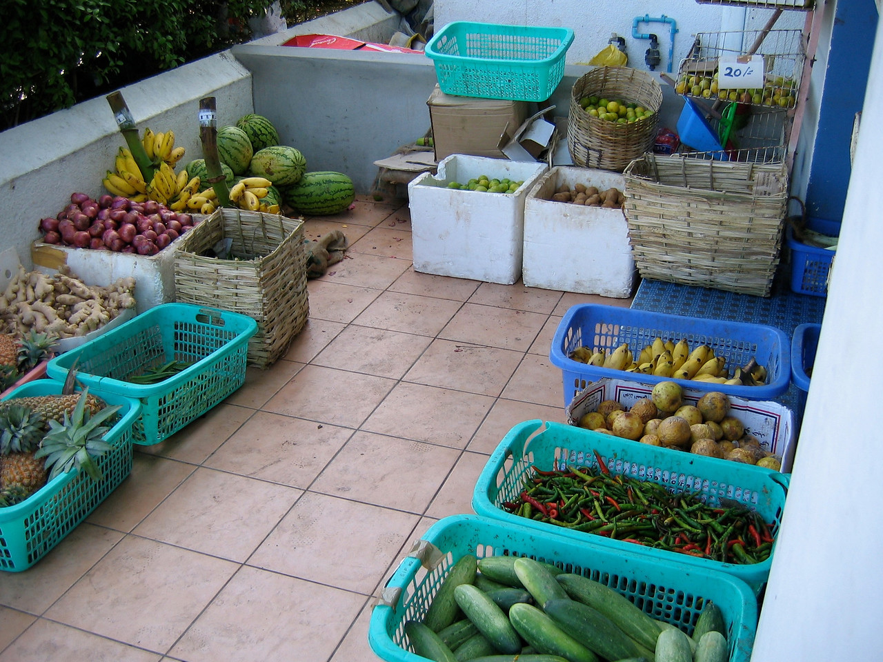 The fruit market in Male is located along the waterfront of downtown.