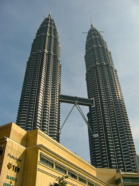 The Petronas Towers are twin skyscrapers in Kuala Lumpur.  They were the tallest buildings in the world from 1998 to 2004 until surpassed by Taipei 101