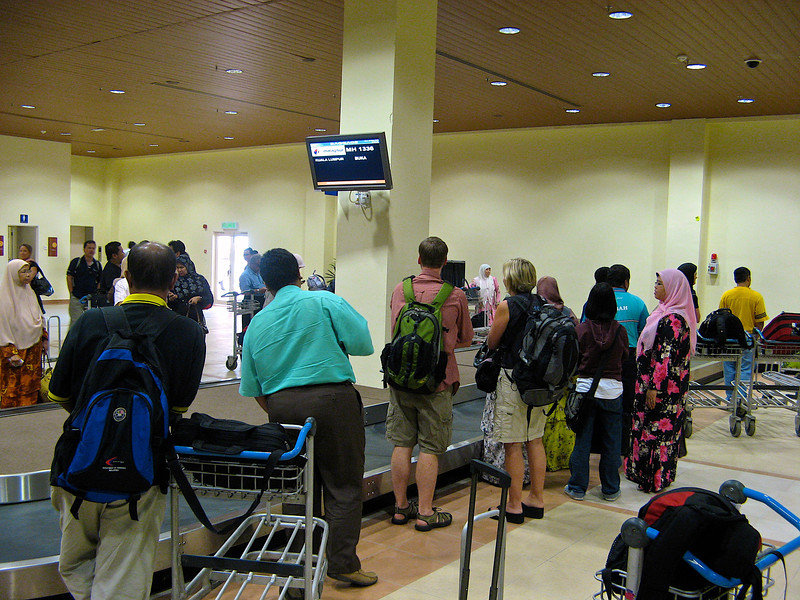 The Terengganu airport is small, so picking up luggage is a breeze.
