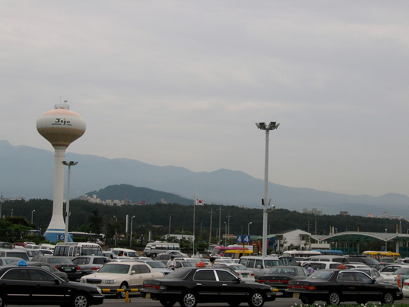 Arrival at the Jeju Airport in Jeju City, which is at the north end of the Island of Jeju.