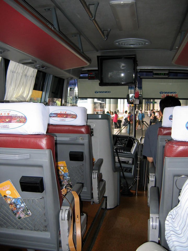 Here we are on the airport limousine bus headed to the south end of the island and the city of Seogwipo.