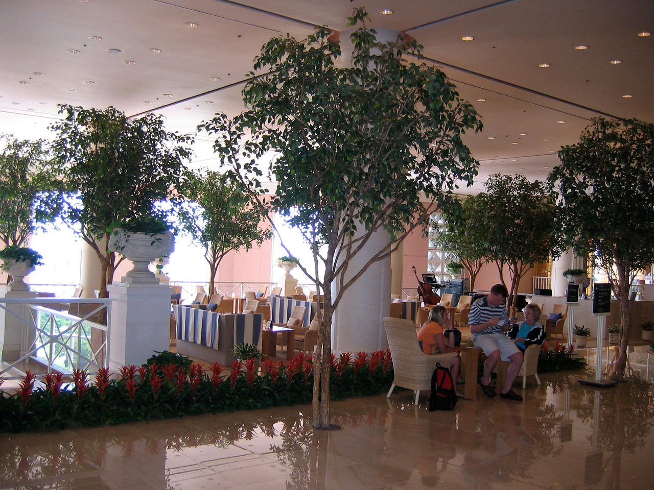 Lobby area of the Shilla Jeju with a small cafe.
