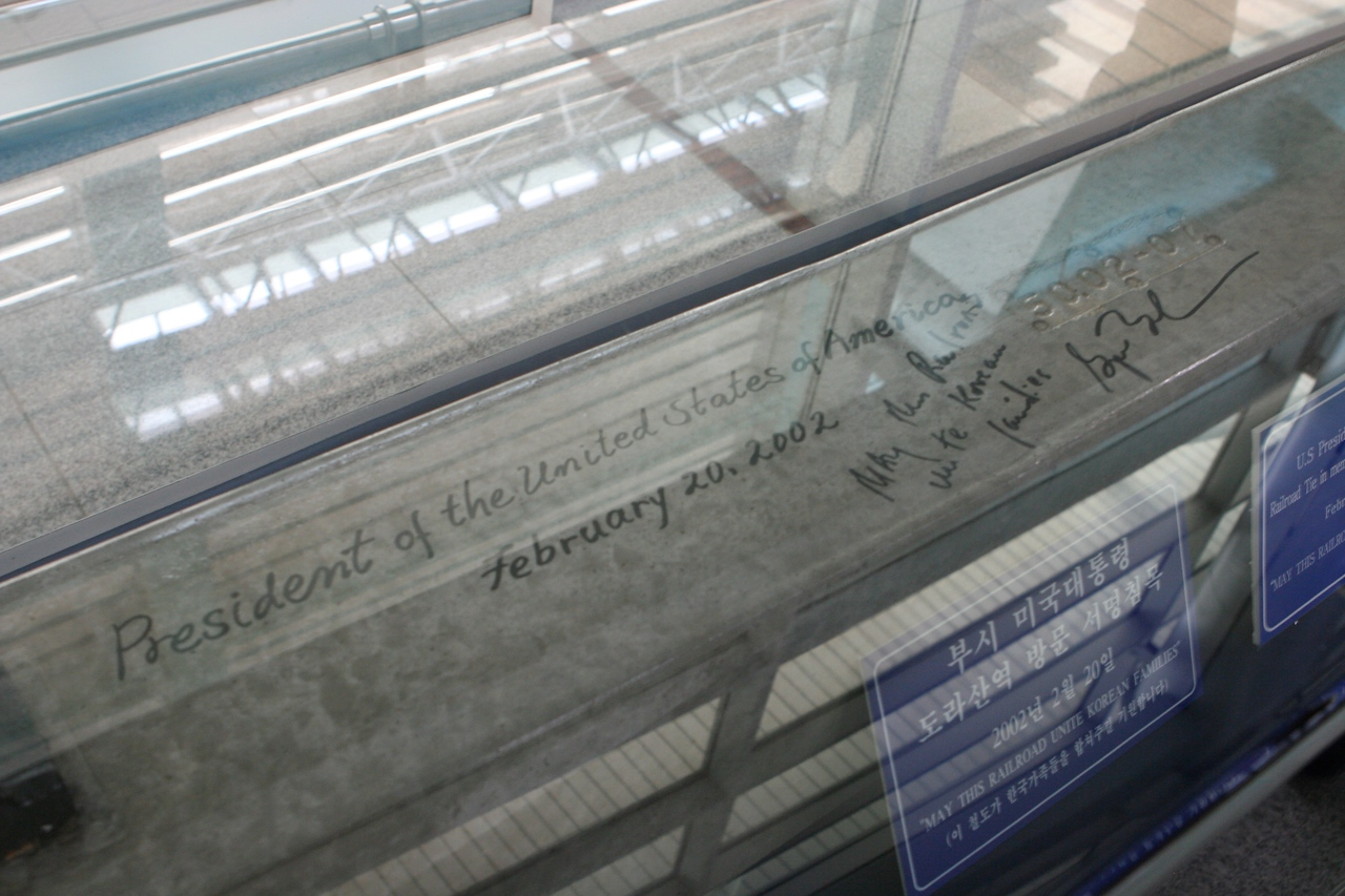 George Bush visited in 2002 and signed the final rail tie.