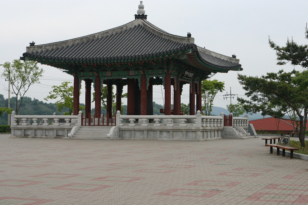 This is the new bell pavilion at Imjin-gak.  The peace bell is rung 3 times each day.