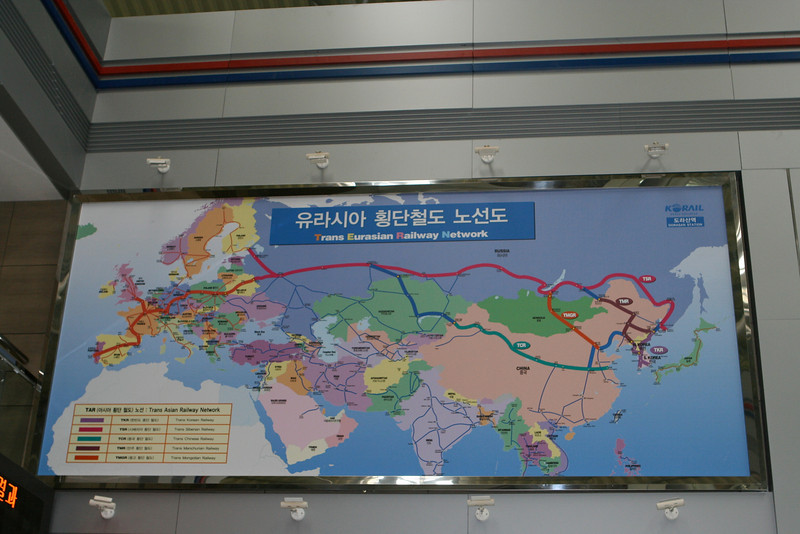 If Noth Korea allows trains through, it will connect to the vast rail network in China and Europe.  Trains from South Korea could travel all the way to the Atlantic Coast in Spain on a single track as part of the Trans Eurasian Rail Network.