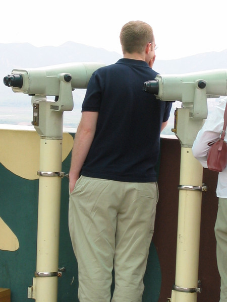 Photos aren't allowed at the railing, so you can use these binoculars for 50 cents to look closer.