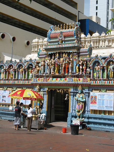 The Sri Mariamman Temple is Singapore's oldest Hindu temple. It is an agamic temple, built in the Dravdian style.  The temple serves mainly South Indian Tamil Hindu Singaporeans.