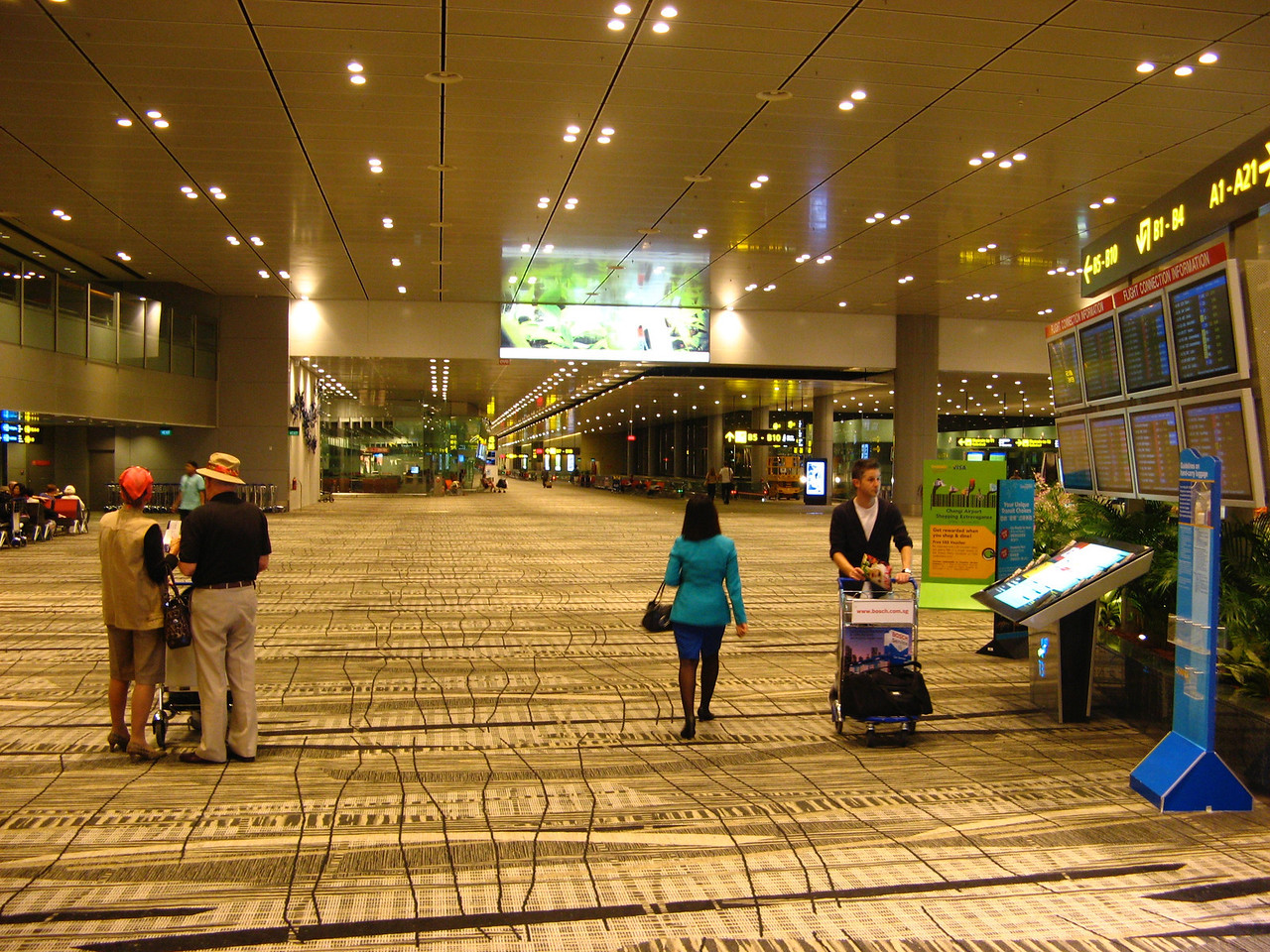 The terminal has wide aisles, large gate areas and plenty of shopping making it almost a city unto itself.  Other terminals are reached via Skytrain.