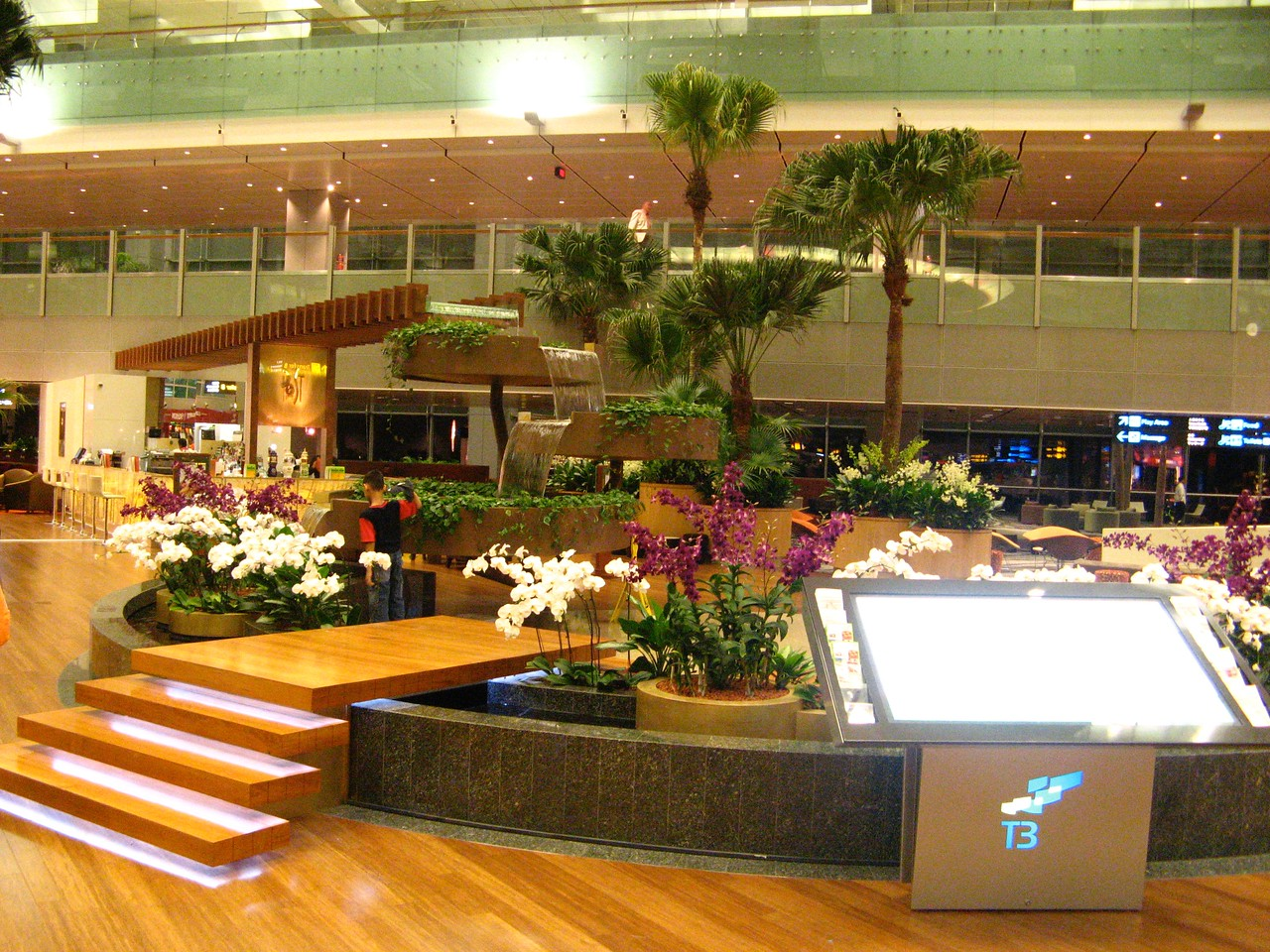 The airport includes 3 hotels, a swimming pool, many different shopping areas, along with many unique restaurants.
