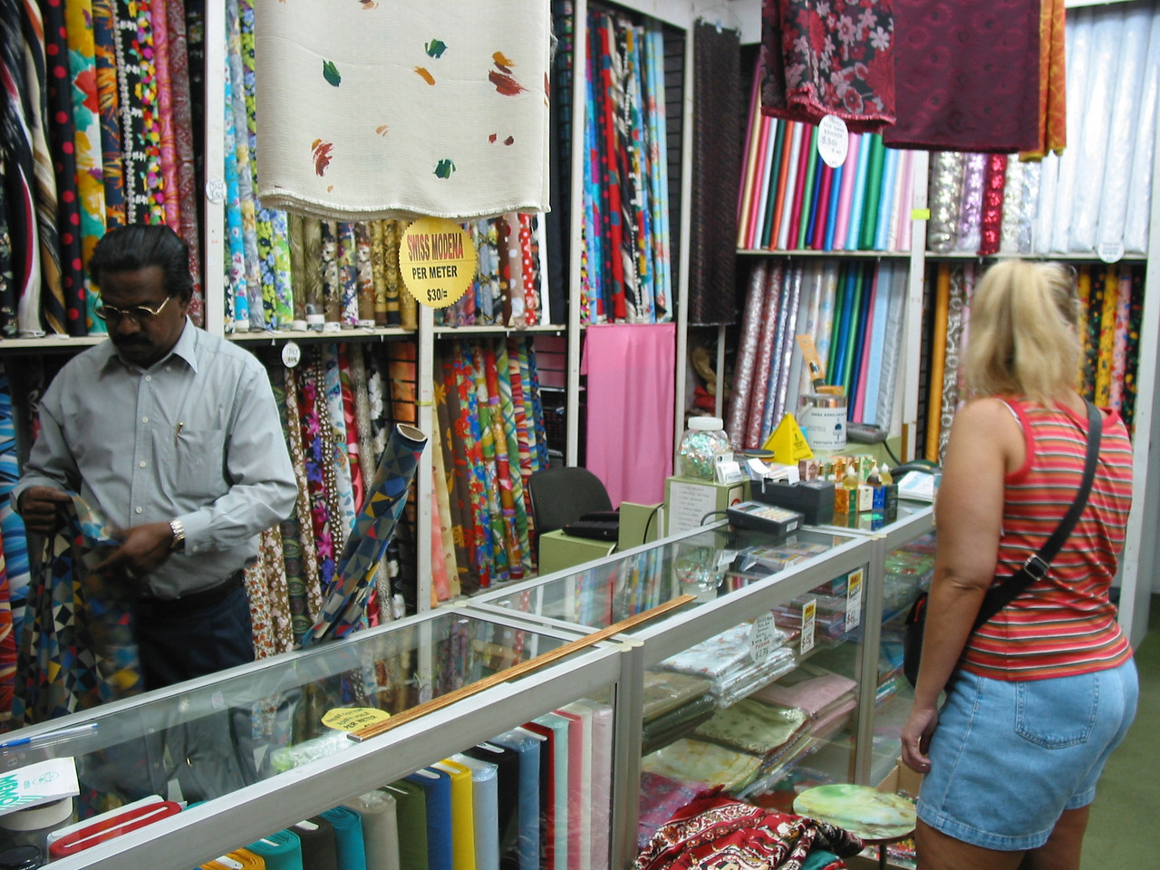 In Little India, you can find exotic fabrics...